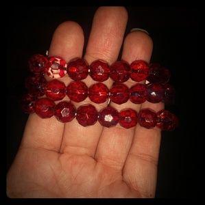 Red beaded bracelets